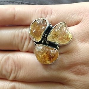 Beautiful natural rough citrine ring size 8.25